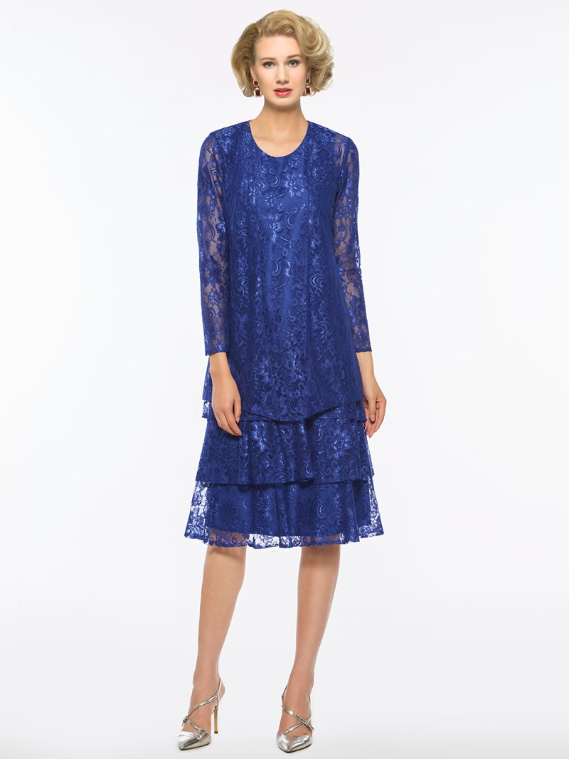 Ericdress Lace Tea-Length Mother of The Bride Dress with Jacket