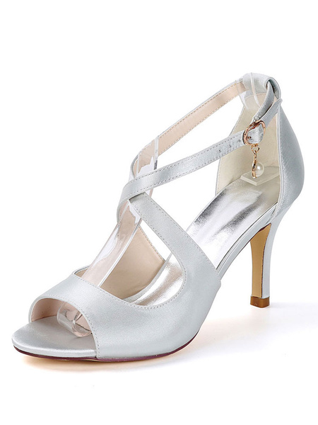 Milanoo Zapatos de novia de saten Zapatos de Fiesta de tacon de stiletto Zapatos azul oscuro  Zapatos de boda de puntera abierta 8.5cm