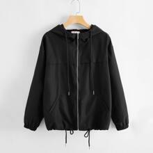 Solid Drawstring Zip Up Hooded Jacket