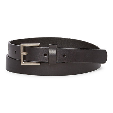 Mixit Leather Skinny Belt, Large , Black