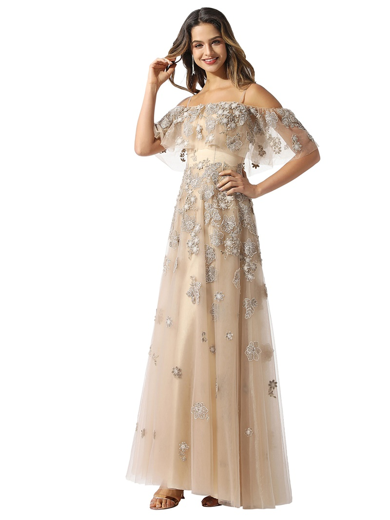 Ericdress A-Line Spaghetti Straps Floor-Length Appliques Prom Dress 2020
