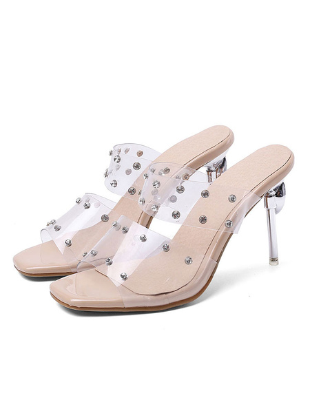 Milanoo Women\'s Transparent Clear Sandals Slippers Square Toe Open toe Rhinestones Sandal Shoes