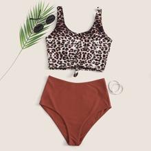 Bañador bikini bajo con nudo de leopardo