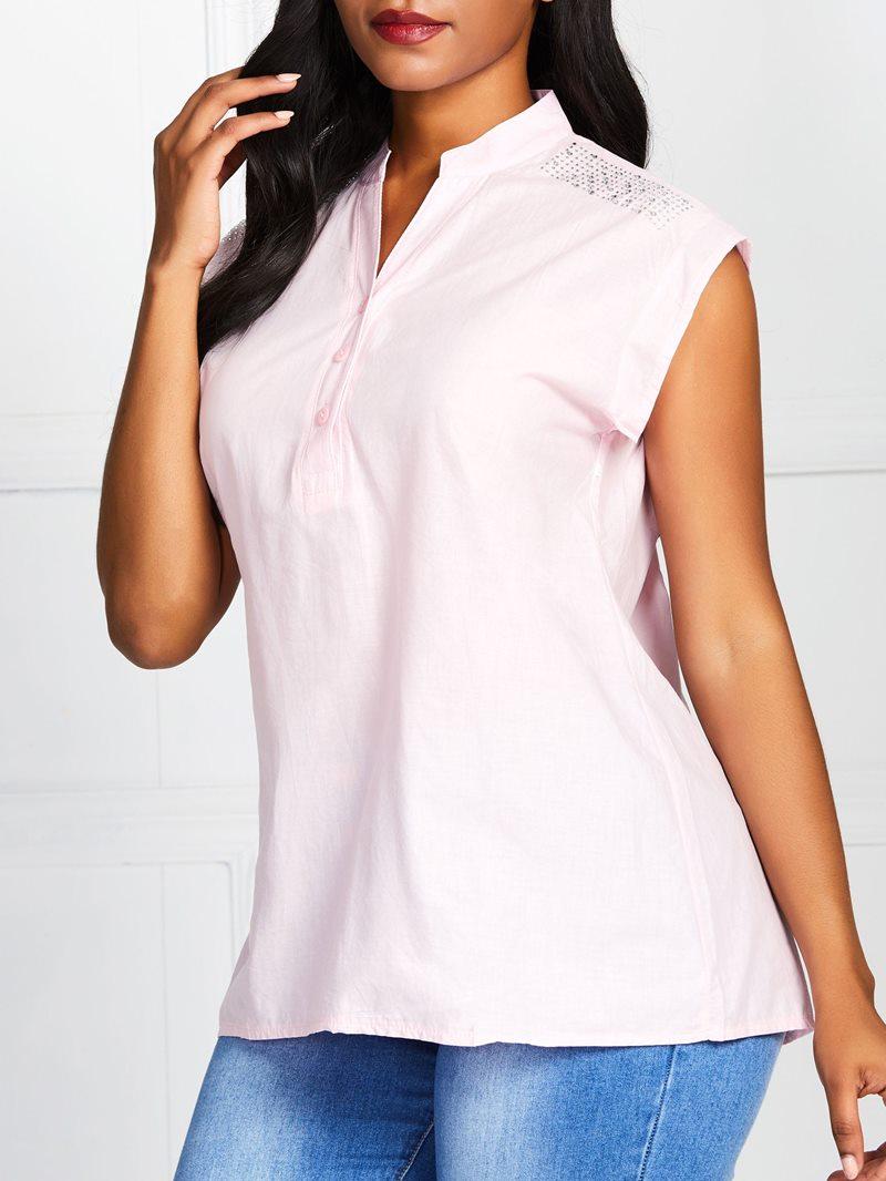 Ericdress Plain Button Sleeveless Loose T-Shirt