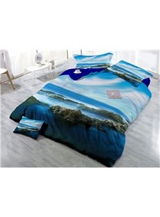Mountain and Blue Sky Natural Scenery Wear-resistant Breathable High Quality 60s Cotton 4-Piece 3D Bedding Sets