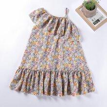 Kleid mit ueberallem Blumen Muster und Raffungsaum