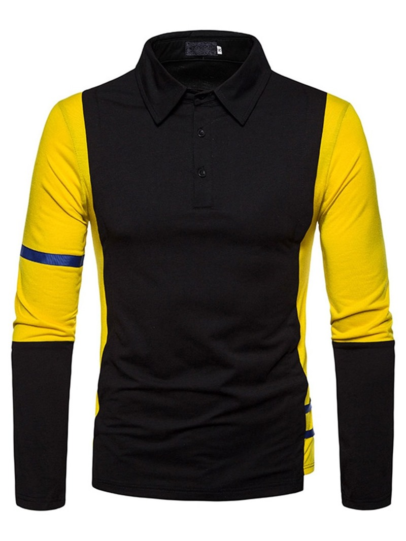 Ericdress Button Color Block Men's Polo Shirt
