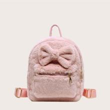 Maedchen flaumiger Rucksack mit Schleife Dekor