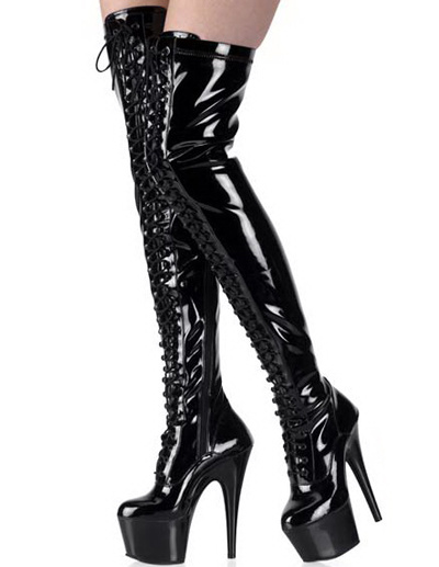 Milanoo High Heel Black Women's Thigh High Patent Leather Sexy Boots