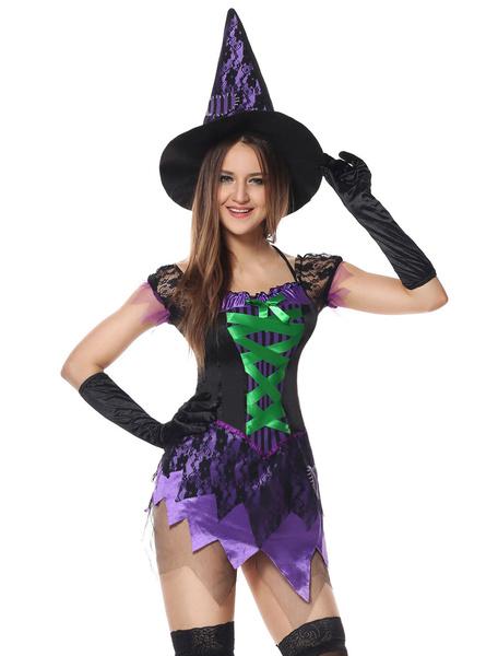 Milanoo Disfraz Halloween Disfraz de bruja Halloween Mujeres Deep Purple Mini vestido Outfit Carnaval Halloween