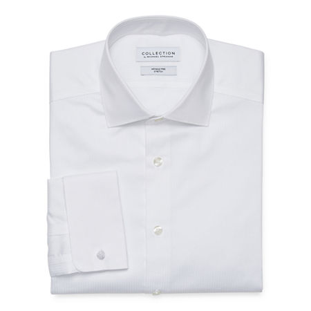 Collection by Michael Strahan Mens Spread Collar Long Sleeve Wrinkle Free Stretch Dress Shirt, 16-16.5 34-35, White