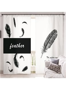 3D Modern Concise Style Feathers and Letters Printed Custom Semi Blackout Curtains