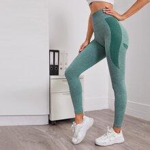 Sports Leggings mit Kontrast Einsatz und breitem Taillenband