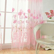 1 pieza cortina con patron floral