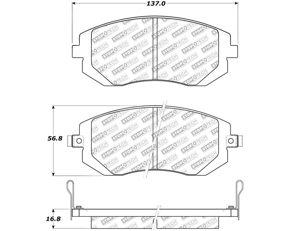 StopTech 305.0929 Street Select Brake Pads with Hardware Subaru Front
