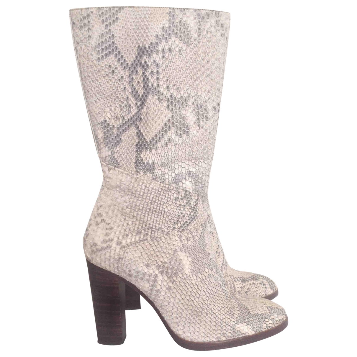 Chloé \N Ecru Python Boots for Women 38 EU