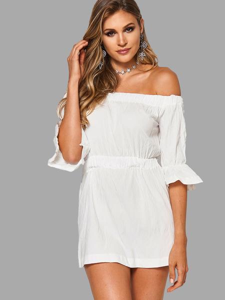 Yoins White Sexy Off Shoulder Elastic Waist Dress