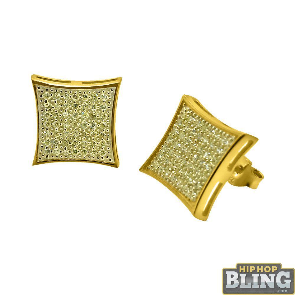 Canary CZ Gold XL Kite Hip Hop Earrings