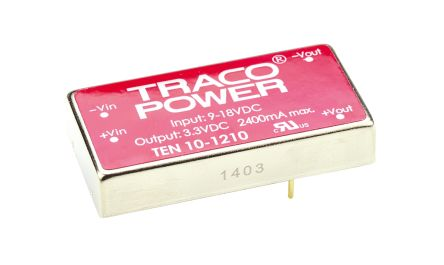 TRACOPOWER TEN 10 10W Isolated DC-DC Converter Through Hole, Voltage in 9 → 18 V dc, Voltage out 3.3V dc