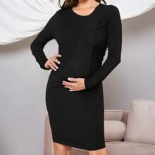 Maternity Einfarbiges Kleid mit Ruesche