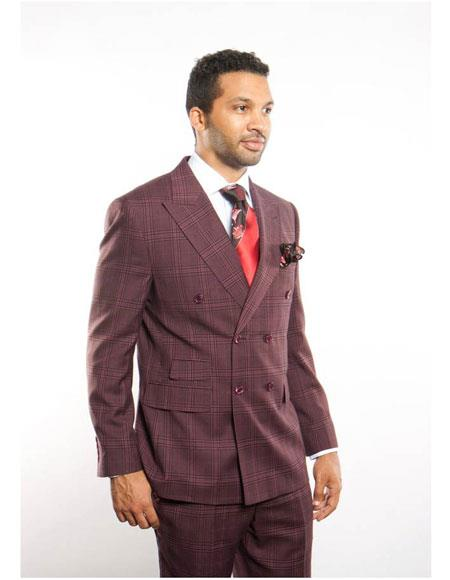 Mens Burugundy Windowpane Blazer 2Breast PeakLapel Button ClosureSuit