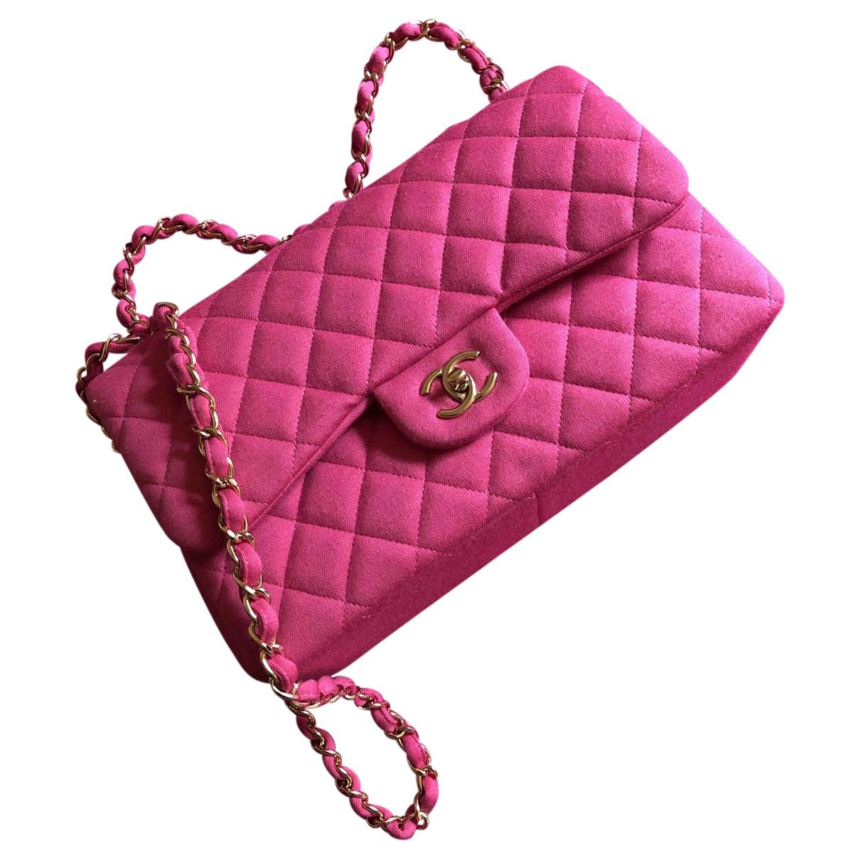 Chanel Timeless/Classique Handtasche in  Rosa Baumwolle