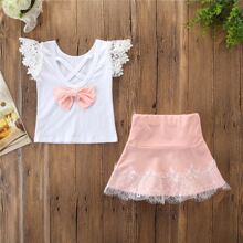 Toddler Girls Contrast Lace Bow Front Tee With Skirt