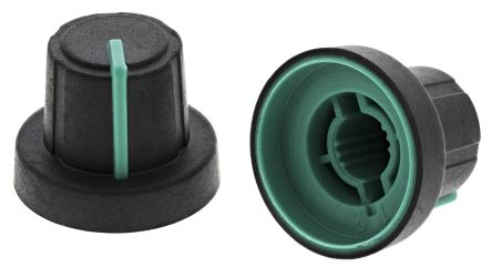 Sifam Potentiometer Knob, Push-On Type, 18.9mm Knob Diameter, Black, Splined Shaft Type, 6mm Shaft (5)