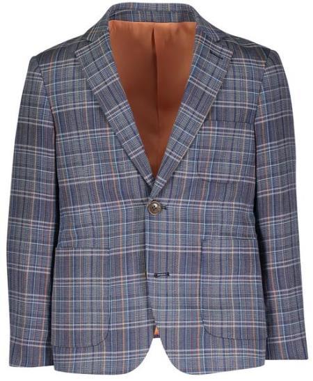 Boys 2 Button Single Breasted Navy Linen Blazer