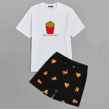 Conjunto de pijama de hombres camiseta con estampado de slogan y dibujos animados con shorts