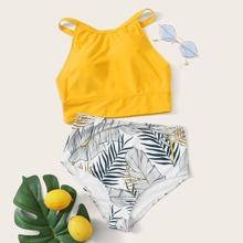 High Neck Random Tropical High Waist Bikini Swimsuit