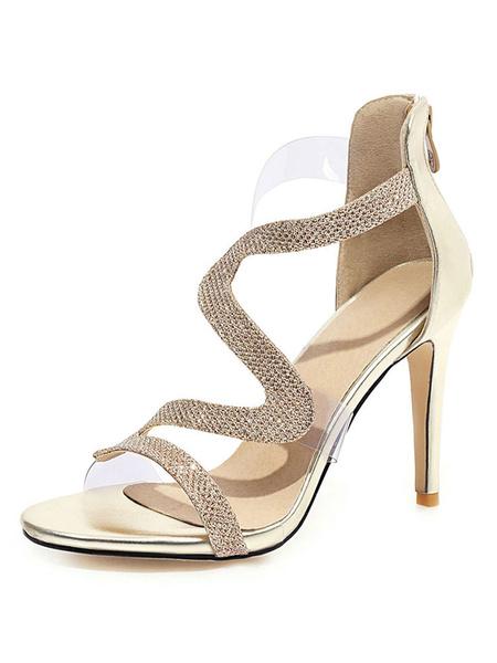 Milanoo Sandalias plateadas Tacon de aguja Zapatos de talla grande con punta abierta