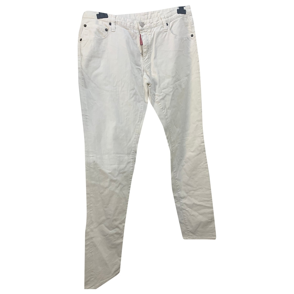 Dsquared2 \N White Cotton Trousers for Men 48 IT
