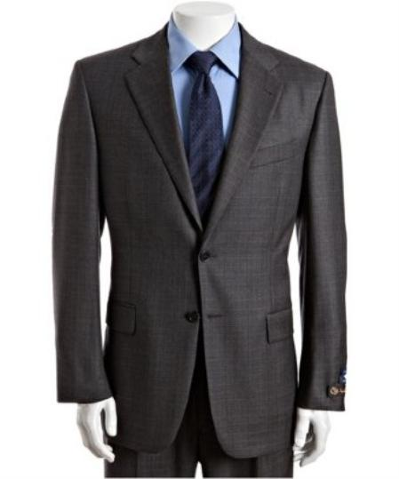 2 Button Grey Plaid s Wool Suit with Single Pleated Pants Mens