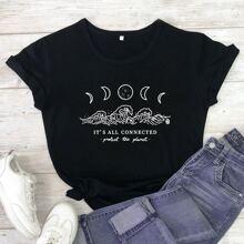 T-Shirt mit Mond und Buchstaben Muster