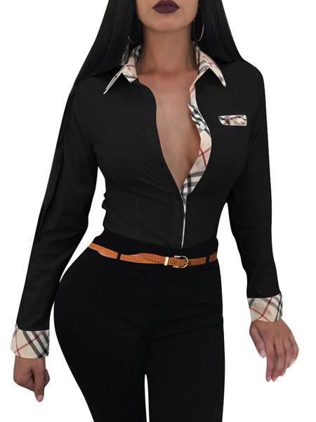 Milanoo Women Sexy Shirt Long Sleeve Spread Neck Cotton Casual Top