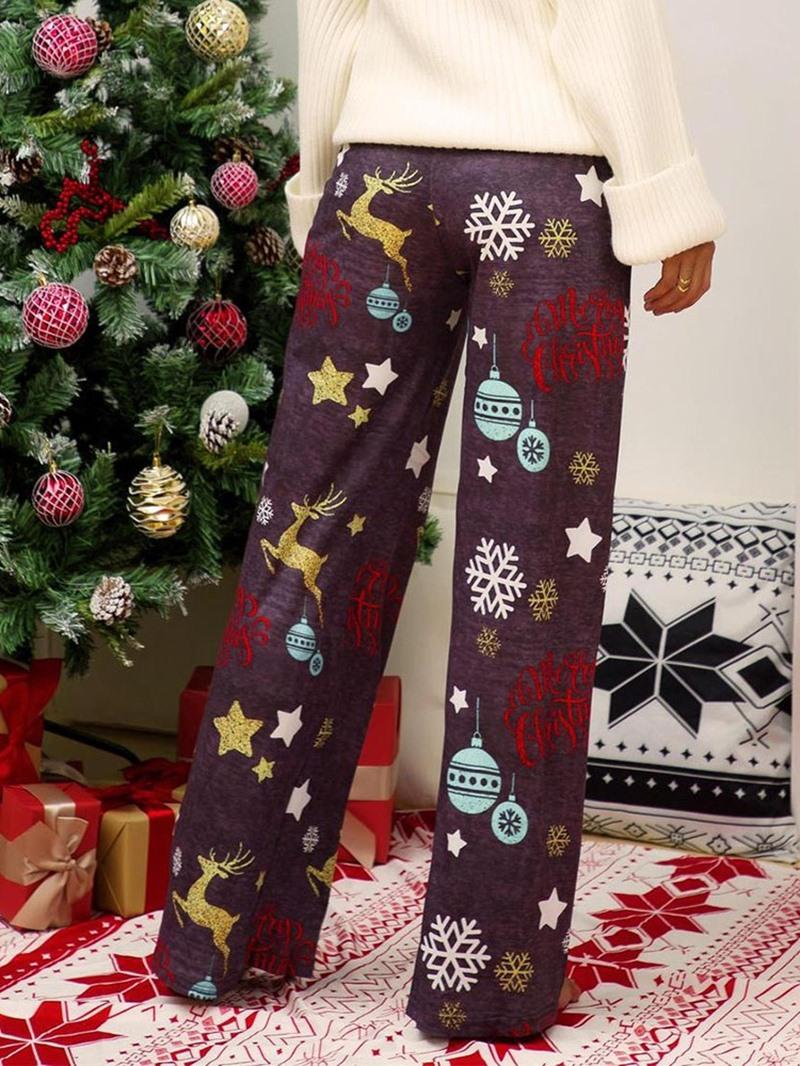 Ericdress Christmas Loose Full Length Cartoon Casual Pants
