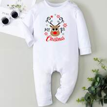 Baby Unisex Christmas And Slogan Graphic Jumpsuit