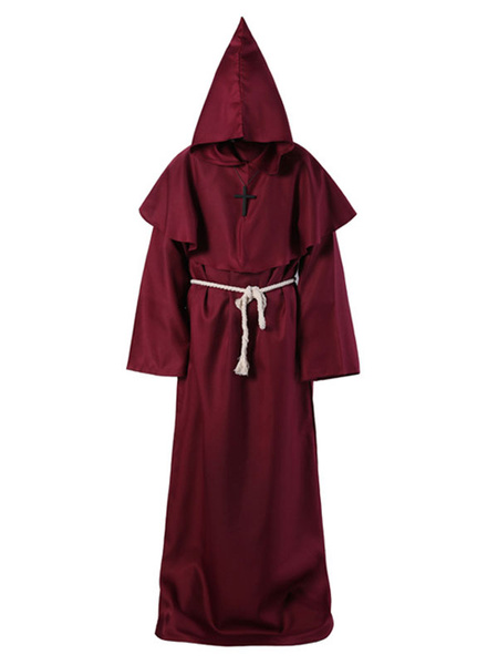 Milanoo Monk Halloween Costume Middle Ages Hooded Men Robe