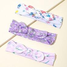3 Stuecke Kleinkind Maedchen Kopfband mit Blumen Muster