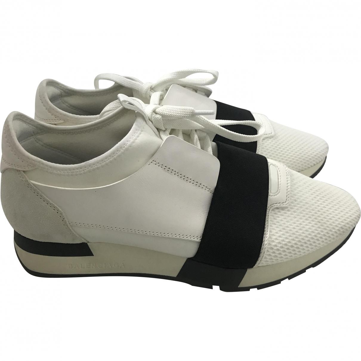 Balenciaga Race White Leather Trainers for Women 39 EU