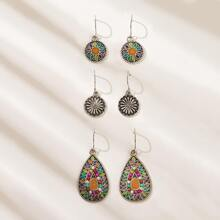 Decor Disc & Water Drop Earrings 3pairs