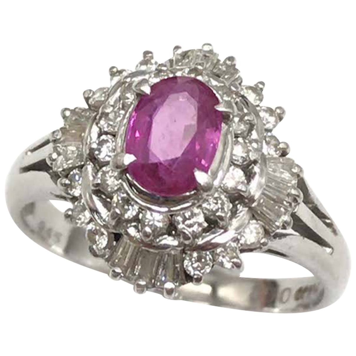 Non Signe / Unsigned Rubis Ring in  Silber Silber