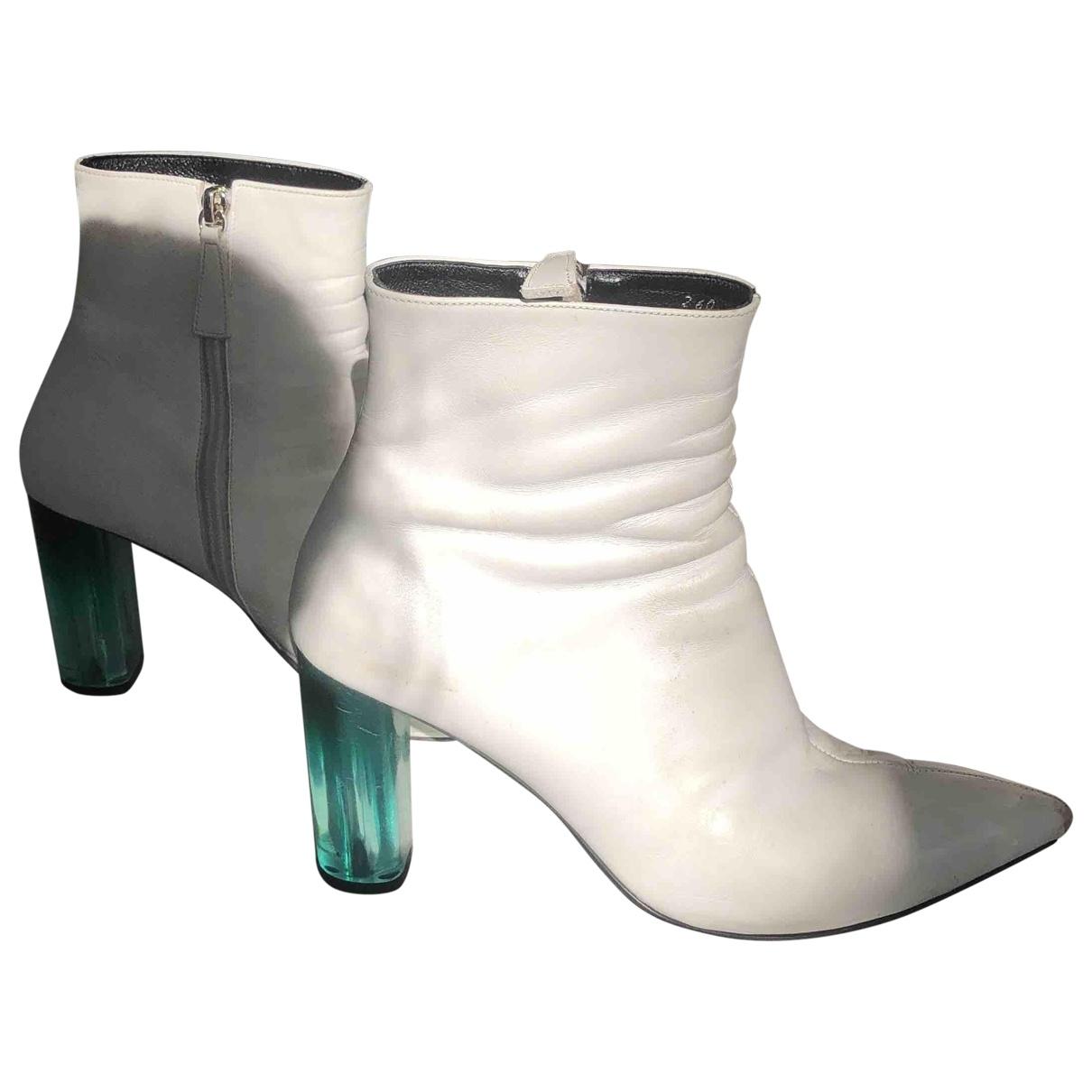 - Boots   pour femme en cuir - blanc