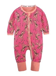 Deer Pattern Long Sleeve Covered Feet Cotton Zipper Infant Jumpsuit/Bodysuit