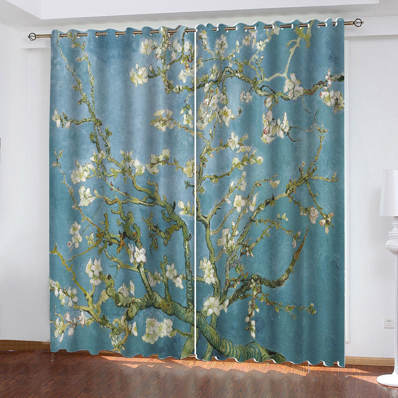 3D Vintage Plant Printed Blackout Decoration 2 Panels Curtain Drapes for Living Room No Pilling No Fading No off-lining