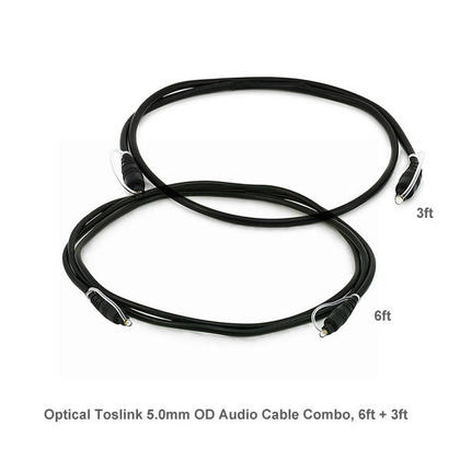 Buy 1 Get 1 Free,Optical Toslink 5.0mm OD Audio Cable Combo 6ft + 3ft - PrimeCables®