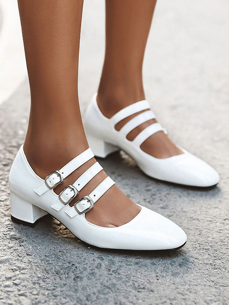 Milanoo Vintage Mary Jane White Mid Heels For Woman Blok Heel Square Toe White Pumps