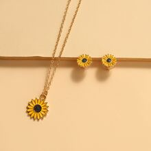 3pcs Flower Decor Jewelry Set