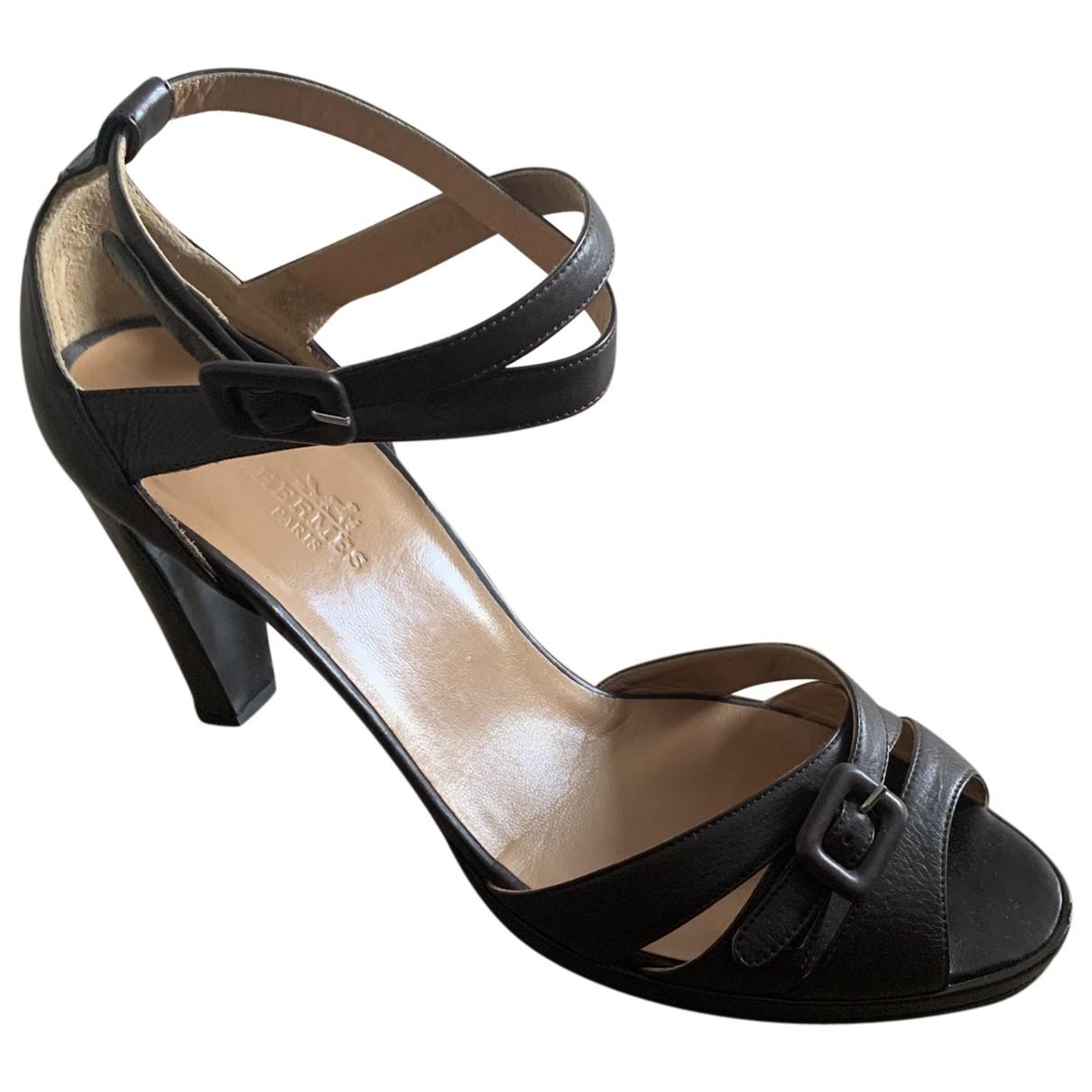 Hermes - Sandales   pour femme en cuir - marron